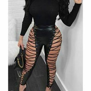 Pants - Strappy Size Hollow Sexy Zipper Back Plus Size Leg